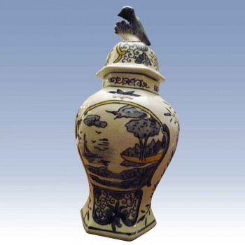 Delft vase covered jar 18th century - vaas XVIII-Delft Schlick 18th century Delft