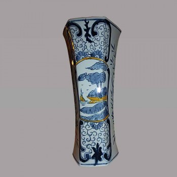 Delft Vase baluster earthenware white blue of 19th-century China