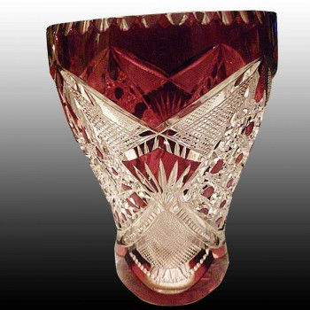 Val Saint Lambert Crystal vase rinse grapes cut colorless and doubled Eggplant creation Leon Ledru