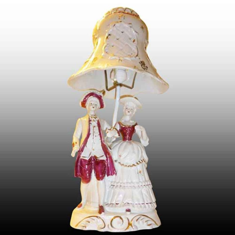 Romantic French-lamppost porcelain Bisque porcelain early 20th century