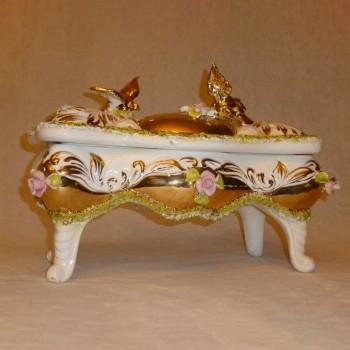 La loza italiana sesto, China gabinete de Palma hechas a mano oro tarde 18 siglo cuarto solo