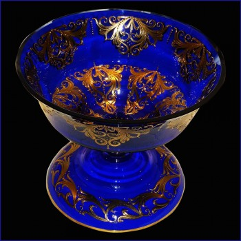 gesneden Crystal Venetie kobalt blauw en goud van 24 karaat