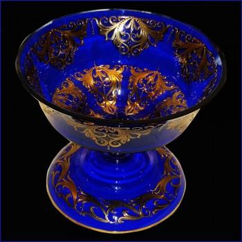 Schneiden Sie Crystal Venedig Kobaltblau und gold 24 karat