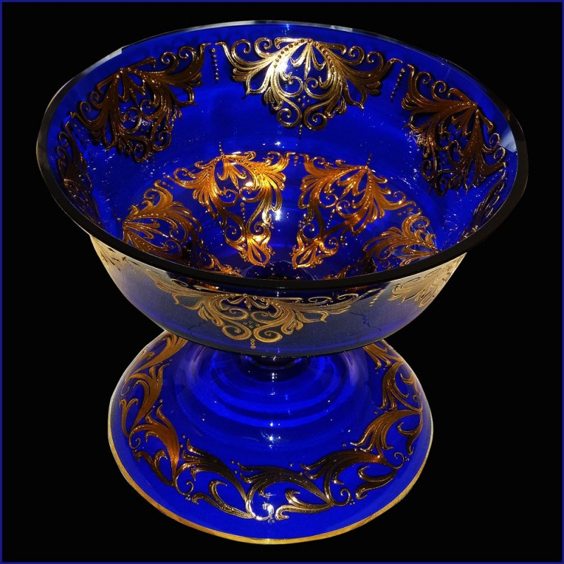 cut Crystal Venice cobalt blue and gold 22 karat