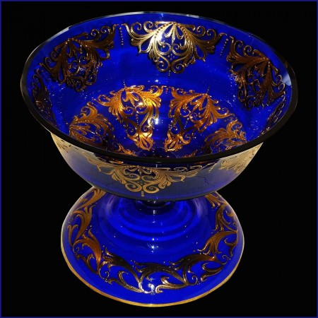 cut Crystal Venice cobalt blue and gold 22 karat