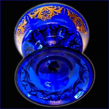 coupe en cristal de Venise bleu cobalt et or 24 carats
