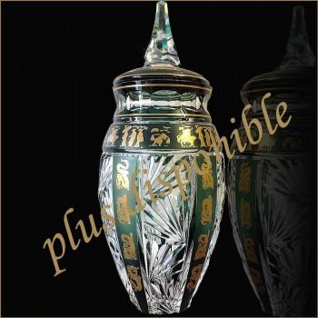 Vase in Crystal Val Saint Lambert Zeichen chinesische Dekoration abgedeckt
