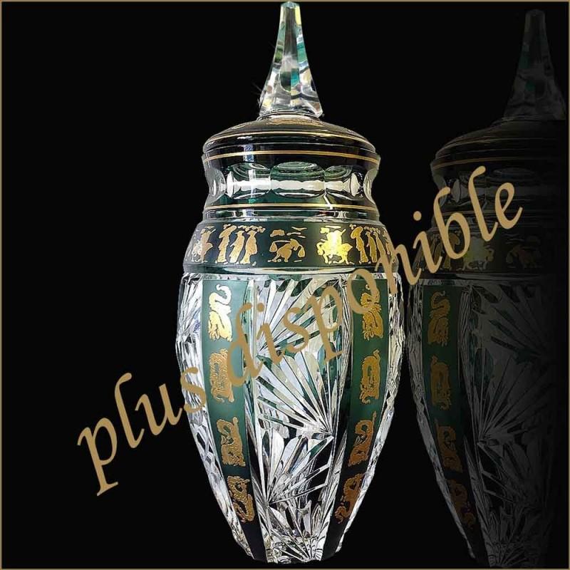 Vase couvert en cristal val saint Lambert signe decor chinois