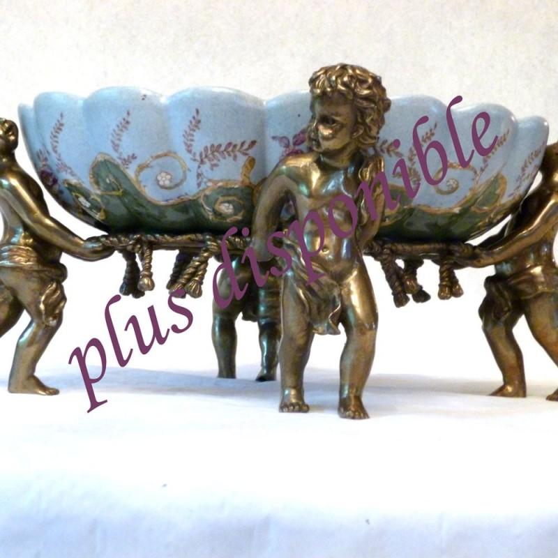 Bronce y mesa de centro antigua de porcelana siglo XVIII - basic-rara pieza de barro