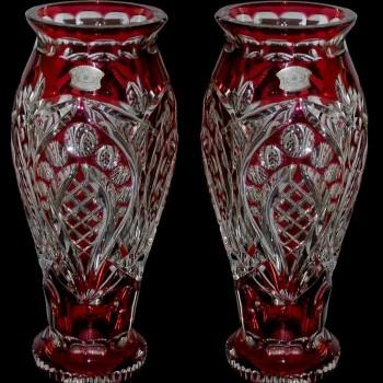 Par de jarrones de cristal rojo Val Saint Lambert Art Deco