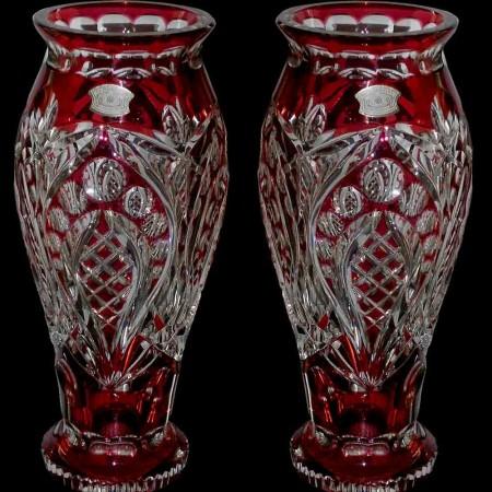 Paar Art Deco rote Val Saint Lambert Kristallvasen