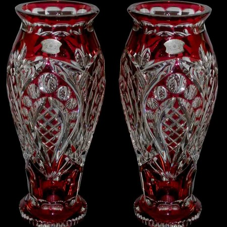 Pair of Art Deco red Val Saint Lambert crystal vases