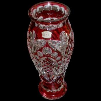 Paire de vases en cristal du Val Saint Lambert rouge Art déco