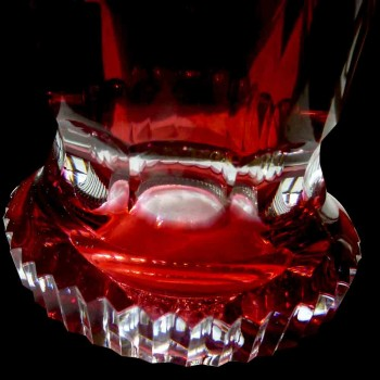 Pair of Art Deco red Val Saint Lambert crystal vases