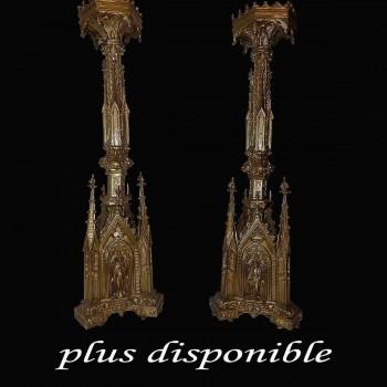 Pique cierges en bronze dore neogothique