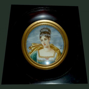 Miniature of Pauline Bonaparte Signed