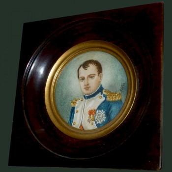 Miniatuur, portret van keizer Napoleon 1e gesigneerd