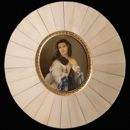 Miniatur auf Elfenbein Madame Rimsky Korsakoven 19. Jahrhundert