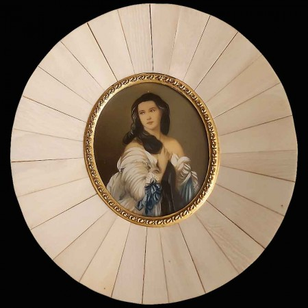 Miniature on ivory Madame Rimsky Korsakoven 19th century