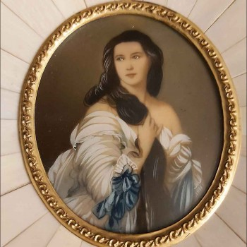 Miniature sur ivoire Madame Rimsky Korsakoven 19 eme siècle