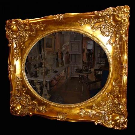 Specchiera in legno e stucco dorato fine Ottocento