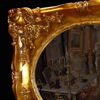 Spiegel aus Holz und vergoldetem Stuck Ende des 19. Jahrhunderts