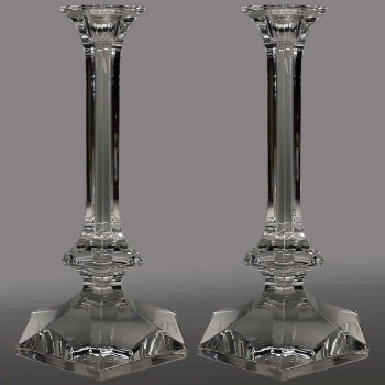 Coppia di grandi candelieri candelieri in cristallo Val Saint Lambert XX secolo