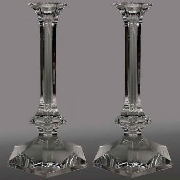 Pareja de candelabros grandes candelabros en cristal Val Saint Lambert siglo XX