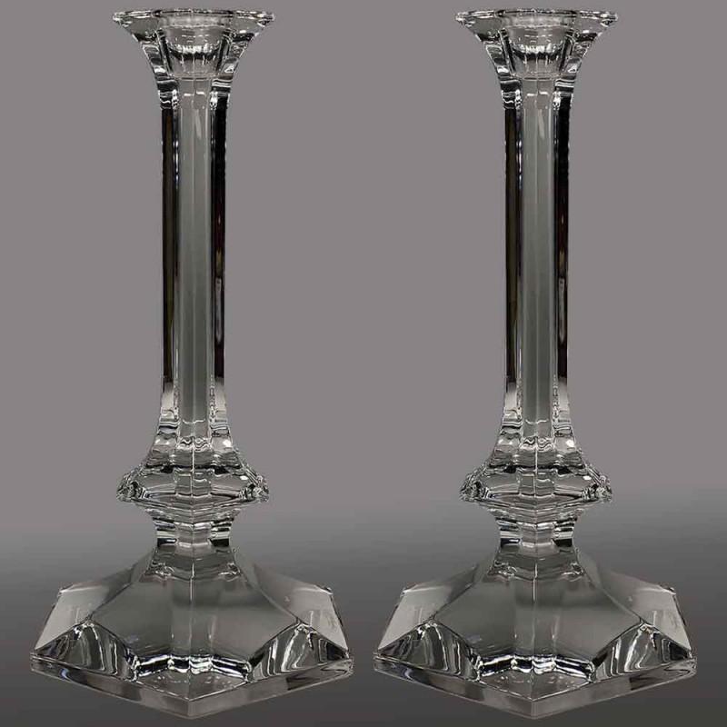 Pair of large candlesticks candlesticks in Val Saint Lambert crystal 20th century