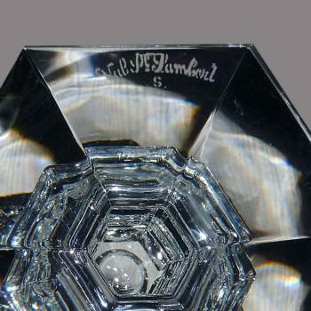 Paire de grand bougeoirs chandeliers en cristal val saint Lambert XX siècle