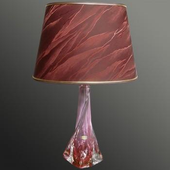 Lámpara de mesa vintage de cristal Val Saint Lambert 1950-1974