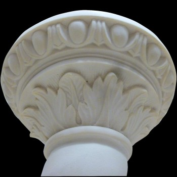 Carrara marble column with Art Deco putti