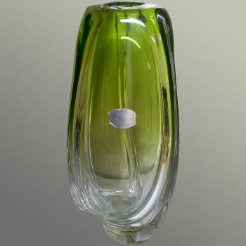 Jarrón chino vintage de cristal verde de Val Saint Lambert-René Delvenne