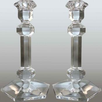 Coppia di candelieri in cristallo Val Saint Lambert modello Galatée