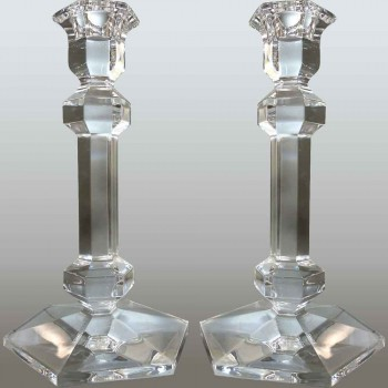 Pareja de candelabros de cristal Val Saint Lambert modelo Galatée