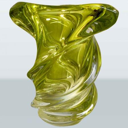 Florero de cristal Val Saint Lambert Vintage colección Guido Bon