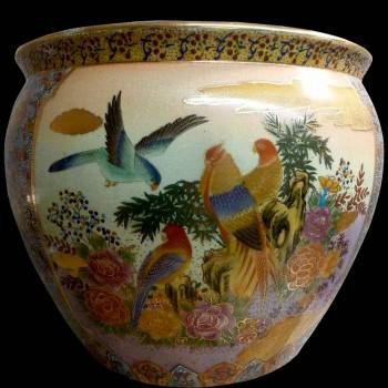Pecera de porcelana con decoración de paisaje Satsuma Japón siglo XX