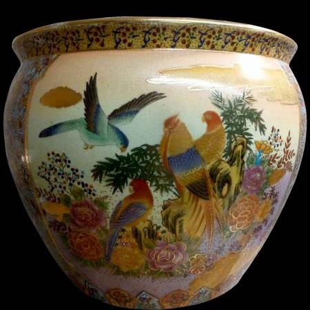 Porcelain fish basin with landscape decoration Satsuma Japan 20th century