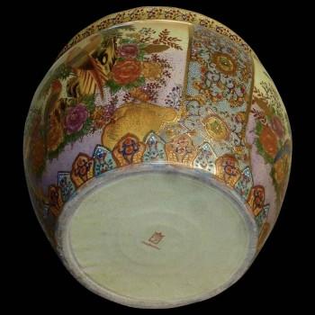 Vintage porcelain fish basin with landscape decor Satsuma Japan 20th century
