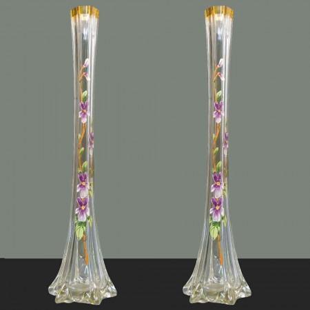 Paar grote Art Nouveau geëmailleerde soliflora vazen 1910