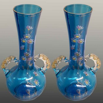 Pair of enamelled vases from 1900