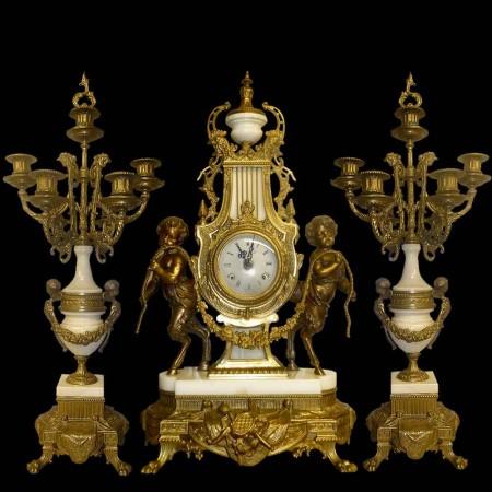 Juego de chimenea de estilo Luis XVI