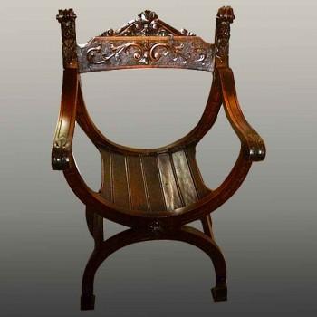 fauteuil Dagobert XIX en noyer sculpte