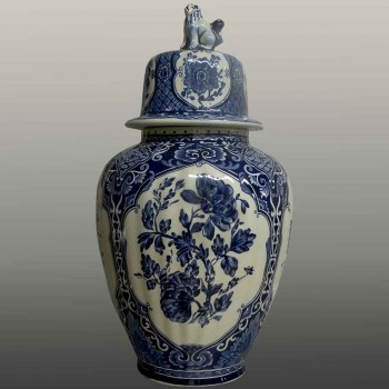 Pair of covered vases Delft Boch brothers twentieth century