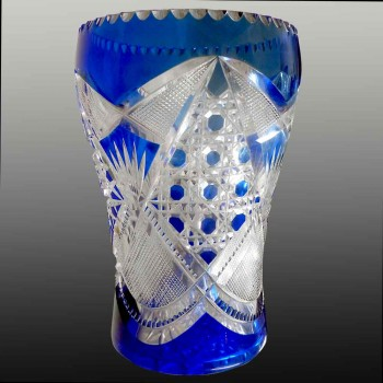 Vaso di cristallo Val Saint Lambert che sciacqua l'uva creazione Léon Ledru 1908