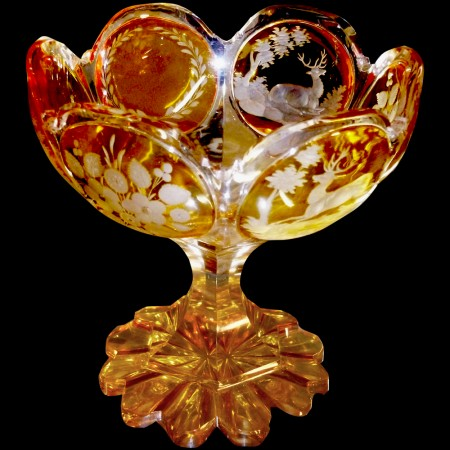 Coppa in cristallo di Boemia ambra del XIX secolo