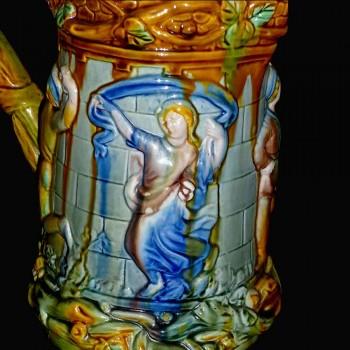 Val Saint Lambert          Vase en cristal pique fleurs réalisé par Jamuel Herman et Louis Leloup XXe siècle-double bleu cobalt