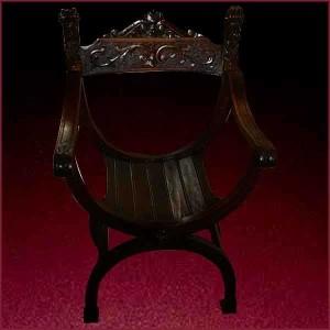 fauteuil Dagobert XIX en noyer sculpté