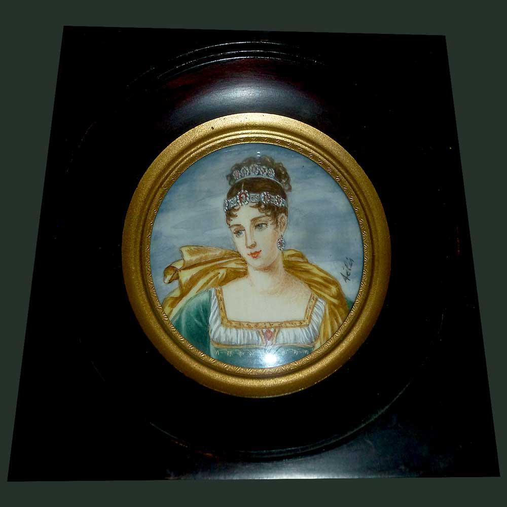 Miniatuur van Pauline Bonaparte gesigneerd