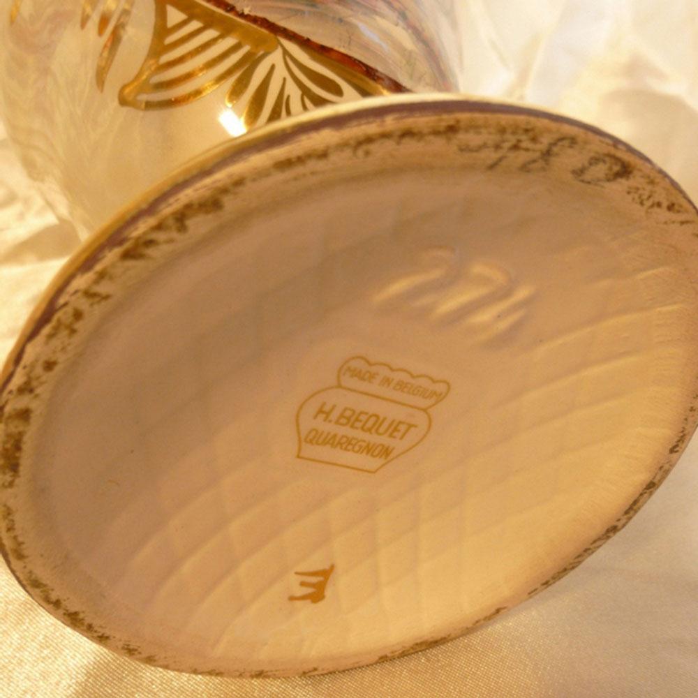 Bequet quaregnon vase aiguiere en ceramique representant une scene galante